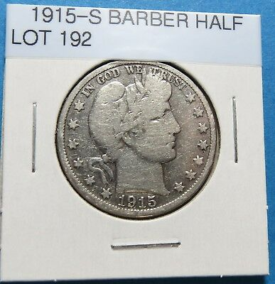 1915-S Barber Or Liberty Half Dollar ~ For Collection Set ~ Comb Ship ~ Lot 192