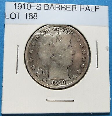 1910-S Barber Or Liberty Half Dollar ~ For Collection Set ~ Comb Ship ~ Lot 188