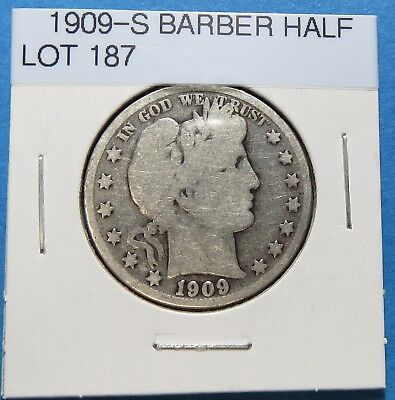 1909-S Barber Or Liberty Half Dollar ~ For Collection Set ~ Comb Ship ~ Lot 187