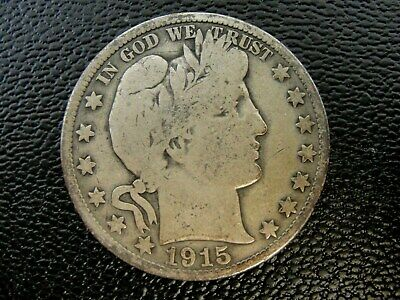 1915 S US Barber Silver Half Dollar * Looks VG *