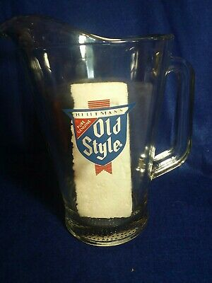 Vintage Heileman's OLD STYLE Heavy Glass BEER PITCHER w/ Logo
