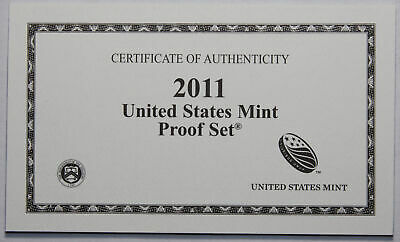 2011-S Clad Proof Set New US Mint Product COA ONLY, NO COINS