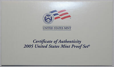 2005-S Clad Proof Set New US Mint Product COA ONLY, NO COINS
