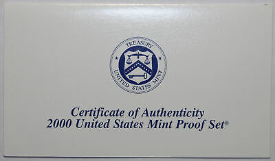 2000-S Clad Proof Set New US Mint Product COA ONLY, NO COINS