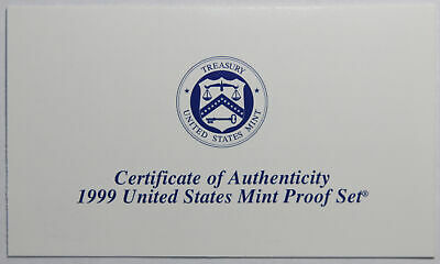 1999-S Clad Proof Set New US Mint Product COA ONLY, NO COINS