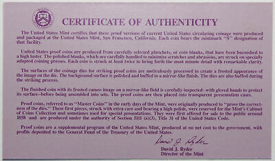 1993-S Clad Proof Set New US Mint Product COA ONLY, NO COINS
