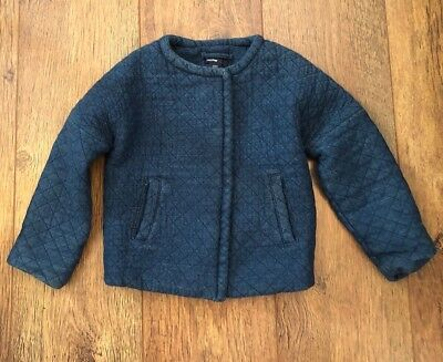 Babygap Girls 3 Yrs Navy Quilted Jacket/Winter/Towie/Xmas/Party/School/Chelsea