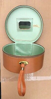 Vintage Round Carry With Mirror Munro Serval Brown Train Case Suitcase Luggage