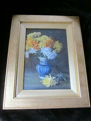 Very Old Impressionist Floral Still Life Oil Painting Signed E BRIERLEY Framed