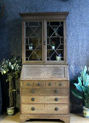 George V Oak Bureau Bookcase Rustic With Arts and Crafts Style Ring Handles