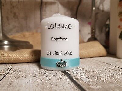 Christening  Baptism Communion Confirmation Gift personalised candle with crown