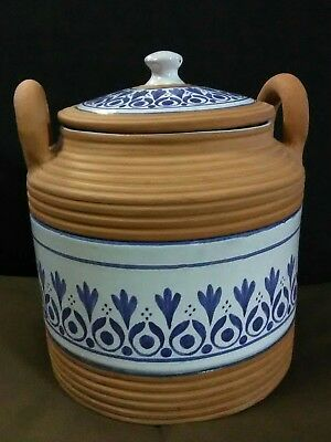 Vtg.Tlalpujahua Michoacan Colin Mexican Pottery Blue/White Handled Lge Jar + Lid