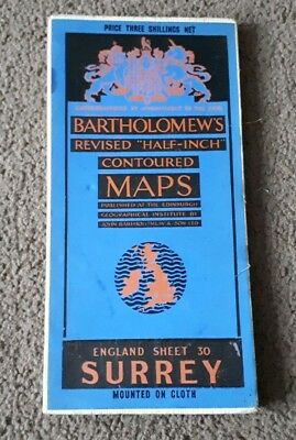 Bartholomews Revised Half Inch Contoured Cloth Map Surrey Sheet 30