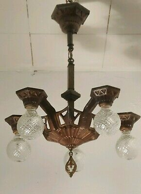 Antique 5 Light Art Deco 1920s Bronze Chandelier,Original patina..