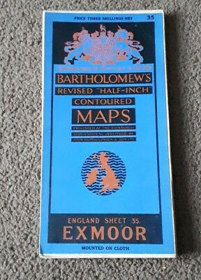 Bartholomews Revised Half Inch Contoured Cloth Map Exmoor Sheet 35
