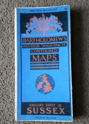 Bartholomews Revised Half Inch Contoured Cloth Map Sussex Sheet 32