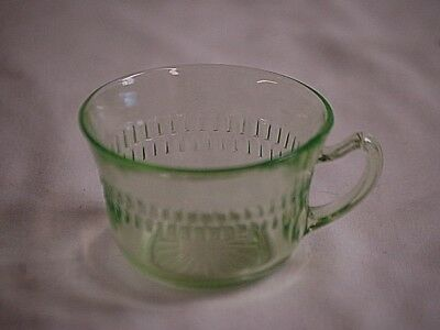 Old Vintage 30s Roulette Green Depression Glass Coffee Tea Cup by Anchor Hocking