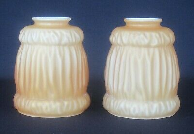 """Matching Pair Vintage Cased Amber/Milk Glass Light Shades w/ 2 1/4"""" Fitter SH516"""