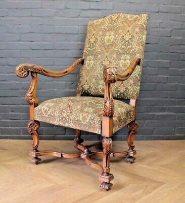 Antique Victorian French Carved Walnut Salon Boudoir Library Chair Armchair