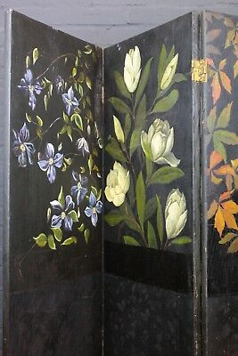 Antique Folding Three Panel Painted Floral Modesty Dressing Room Divider Screen