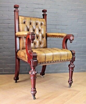 Antique Victorian Green Buttoned Mahogany Leather Library Office Chair Armchair