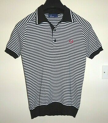 29552c0c6 Mens teens Fred Perry Knitted Polo Shirt Short Sleeve Black white Fine  Stripe Xs