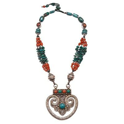Tibetan Medallion Turquoise Coral Sterling Silver Necklace Handcrafted