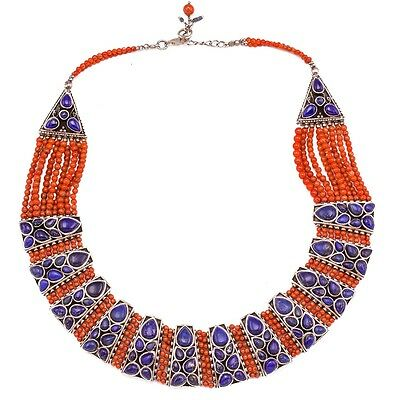 Choker Royal Lapis Coral Necklace Sterling Silver Collar Handcrafted