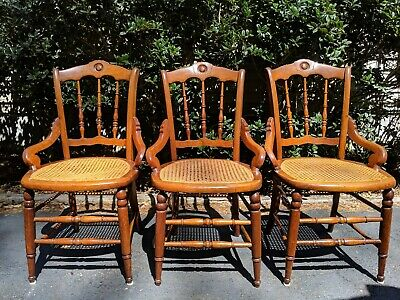 Set 3 Antique Solid Maple Chairs: Cane Woven Seat, Spindle-back, Arms, Bracers +