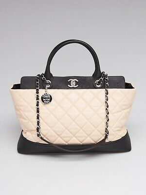 77b429b84cf3b5 CHANEL BEIGE/BLACK QUILTED Leather Bi-Coco Shopping Tote Bag ...