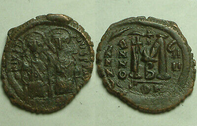 Lot Rare Ancient Byzantine Pentanummium Coins JUSTIN 518A Constantinople Chi-rho