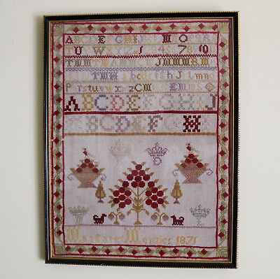 Antique Textiles A Victorian embroidery tree etc...Sampler C.1871
