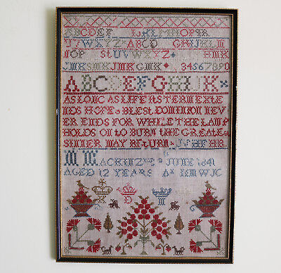 Antique Textiles A Victorian embroidery tree etc...Sampler C.1841
