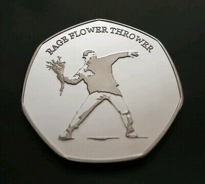 BANKSY Silver Commemorative Coin 50 pp Collectors Street Art, NEW!