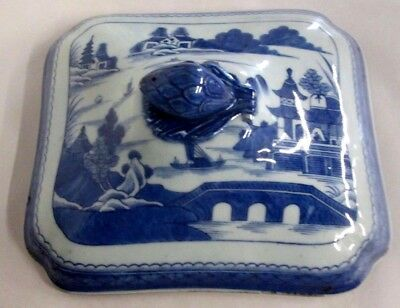 Antique Chinese Canton Blue Export Large Tureen Lid Nicholasville , Ky Estate