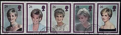GB 1998 Diana, Princess of Wales Commemoratives Used Off Paper Set in Strip