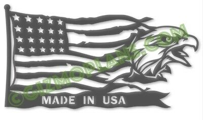 Metal Art DXF Files MADE In USA Eagle Flag DXF CNC Plasma Laser Files