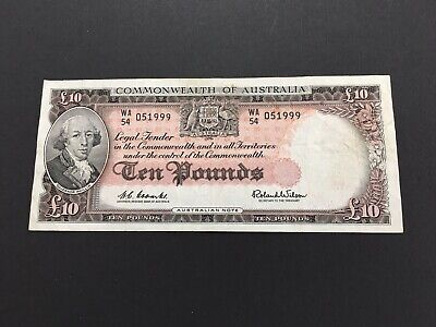 Australia 10 pounds  Coombs/Wilson 1961,  very nice banknote
