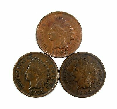 Lot of 3 1902 1c Indian Head Cent Penny XF Extra Fine /XF+ Full Liberty #137065*