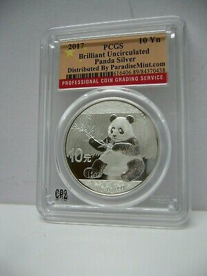 2017 China Panda .999 Silver PCGS Brilliant Uncirculated 10Yn Collectible Coin