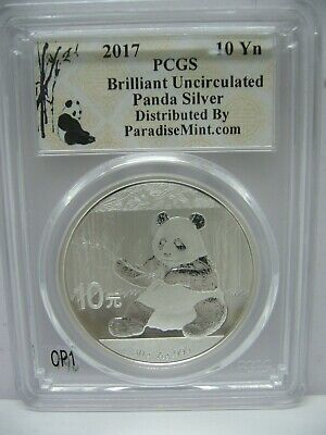 2017 China Panda Silver PCGS Brilliant Uncirculated 10Yn Collectible Coin
