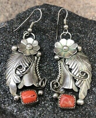 57f649e64 Vintage Old Pawn Navajo Sterling Silver Red Mediterranean Coral Dangle  Earrings