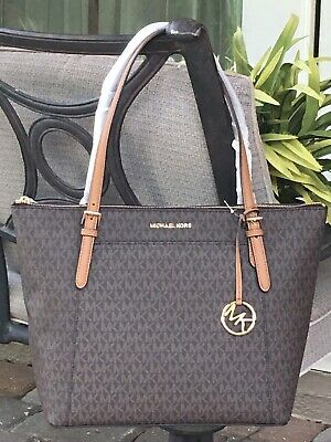 5dafae9bd9d8 Michael Kors Ciara Large East West Zip Tote Bag Mk Brown Signature Logo  398