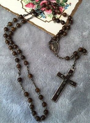 Antique Collectable brown Bakelite Fatima Christ Prayer Rosary Crucifix Beads
