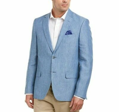 NWT Authentic BEN SHERMAN TAILORING Blue Crown Linen Sportcoat Blazer 48R