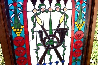Stained Glass Window In Wood Frame ~ Horn+Crossed Spears .Jeweled.roses+Grapes