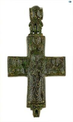 Ancient 10-12th Cent Byzantine Christ Pantokrator Bronze Reliquary Cross Pendant