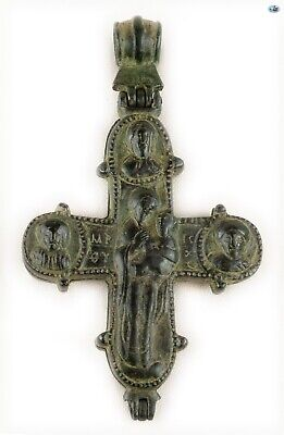 Ancient 10-12th Cent. Byzantine Christ Theotokos Bronze Reliquary Cross Pendant