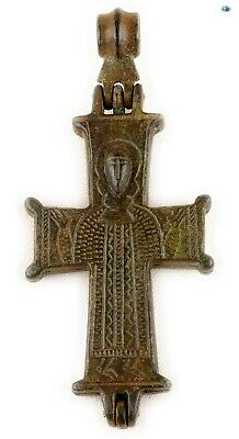 Ancient 10-12th Century Byzantine Christ 'Orans' Bronze Reliquary Cross Pendant