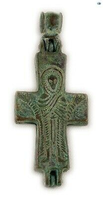 "Ancient 10-12th Century Byzantine Bronze ""Orans"" Christ Reliquary Cross Pendant"